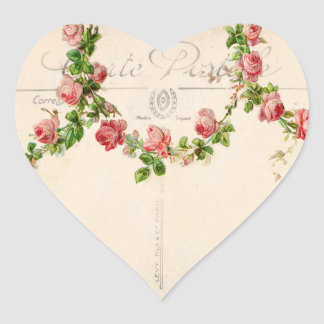 French Rose Swag Heart Sticker