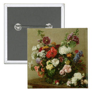 French Roses and Peonies, 1881 2 Inch Square Button