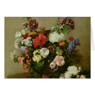 French Roses and Peonies, 1881 Greeting Card