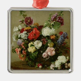 French Roses and Peonies, 1881 Metal Ornament