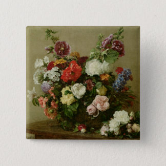 French Roses and Peonies, 1881 Pinback Button