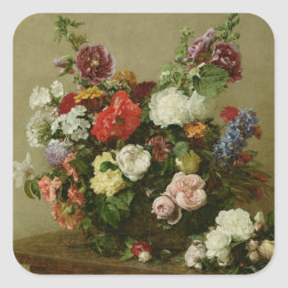 French Roses and Peonies, 1881 Square Sticker