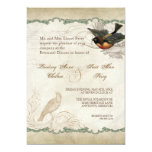 French Roses Love Birds Swirl Vintage Lace - Aqua Personalized Announcements