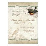 "French Roses Love Birds Swirl Vintage Lace - Aqua 5"" X 7"" Invitation Card"