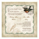 French Roses Love Birds Swirl Vintage Lace - Aqua Personalized Invitation
