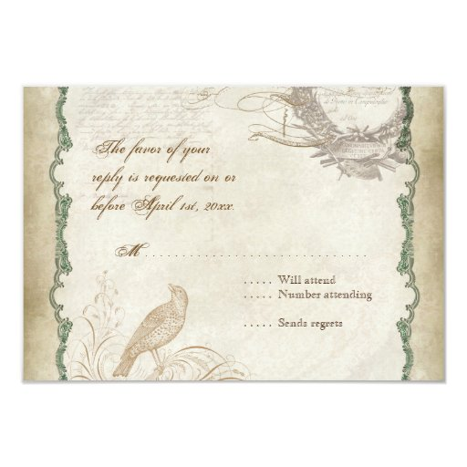 French Roses Love Birds Swirl Vintage Lace - Aqua Custom Announcement