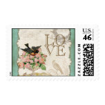 French Roses Love Birds Swirl Vintage Lace - Aqua Stamp