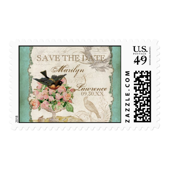 French Roses Love Birds Swirl Vintage Lace - Aqua Postage Stamp