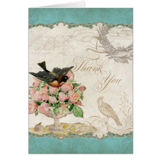 French Roses Love Birds Vintage Lace - Aqua Blue Card
