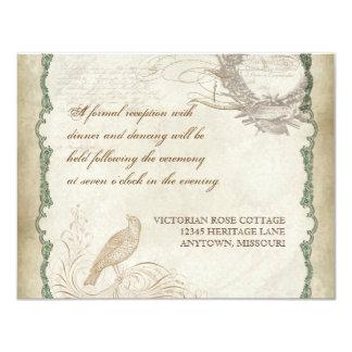 French Roses Love Birds Vintage Lace - Aqua Blue Announcement