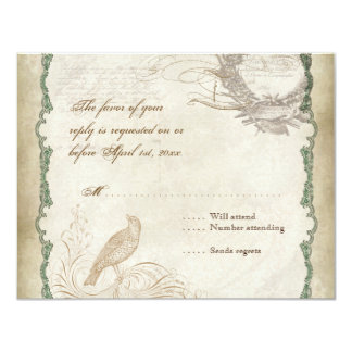 French Roses Love Birds Vintage Lace - Mocha Card