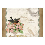 French Roses Love Birds Vintage Lace - Mocha Personalized Invites