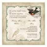 French Roses Love Birds Vintage Lace - Mocha Personalized Invitations