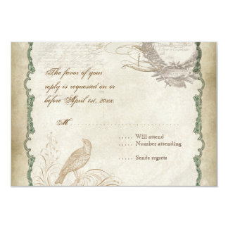 French Roses Love Birds Vintage Lace - Sage Green Card