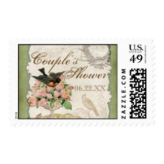 French Roses Love Birds Vintage Lace - Sage Green Stamp
