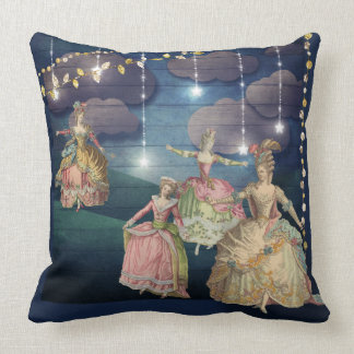 French Royals Dancing Under the Twinkling Lights Throw Pillow
