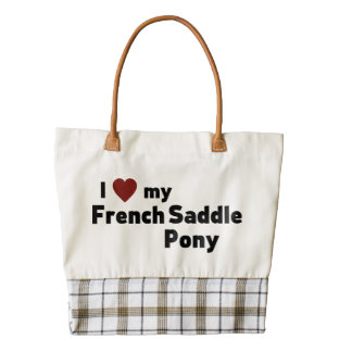 French Saddle Pony Zazzle HEART Tote Bag