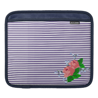 French sailor stripes and pink roses in corner sleeve for iPads