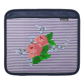 French sailor stripes and pink roses sleeve for iPads