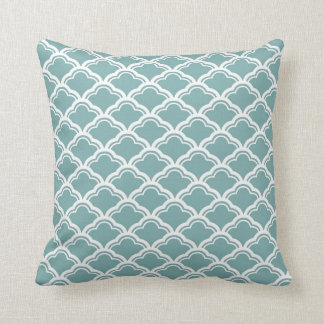 French Scallop Pattern Sea Glass and White Throw Pillow