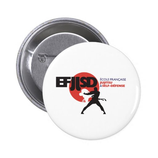 French school of JuJitsu and Coil-Defense Pinback Button