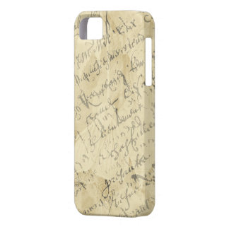 French script on tan iPhone 5 case