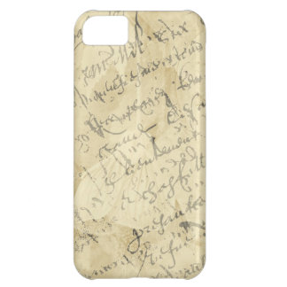 French script on tan iPhone 5C covers