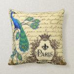 French Script Peacock Paris Decorative Pillow
