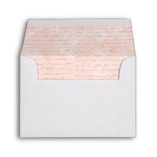 French Script Pink Writing Vintage Style Envelope