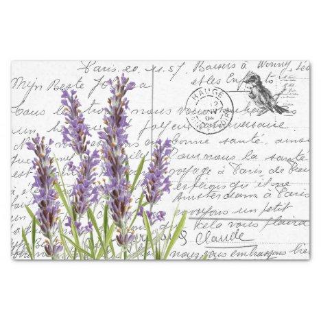 French Script Vintage Lavender Bird Postcard Tissue Paper