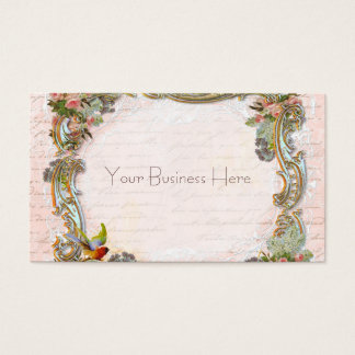 French Script Writing and Scrolls on Pink Business Card