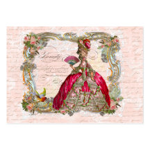 French Script Writing & Marie Antoinette Large Business Cards (Pack Of 100)