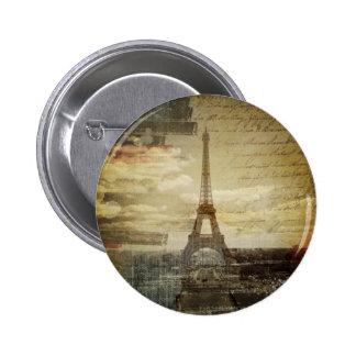 french scripts Modern Vintage Paris Eiffel Tower Button