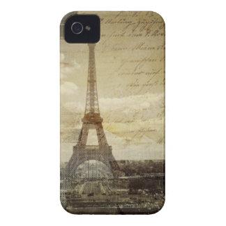 French scripts Modern Vintage Paris Eiffel tower Case-Mate iPhone 4 Case
