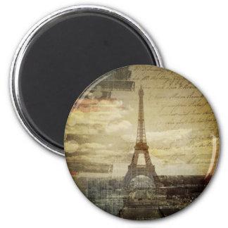 french scripts Modern Vintage Paris Eiffel Tower Magnet