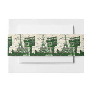 french scripts Paris eiffel tower arch of triumph Invitation Belly Band