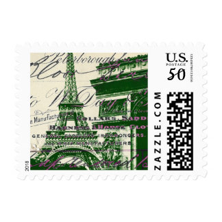 french scripts Paris eiffel tower arch of triumph Postage