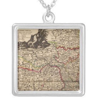 French settlements and forests silver plated necklace