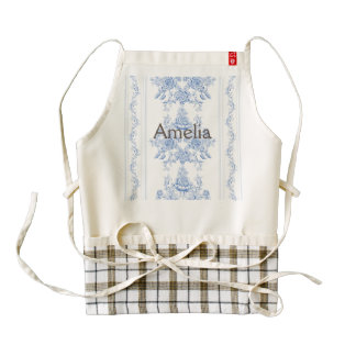 French,shabby chic, vintage,pale blue,white,countr zazzle HEART apron