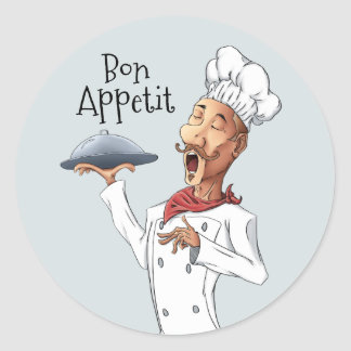 French Singing Chef Classic Round Sticker