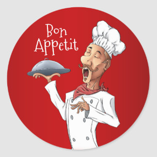 French Singing Chef on Red Background Classic Round Sticker