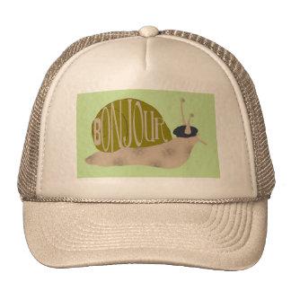 French Snail, Bonjour Baseball Cap Trucker Hat