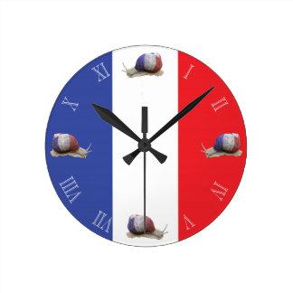 French snail flag round wallclock