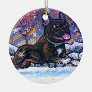 French Snow Dog Double-Sided Ceramic Round Christmas Ornament