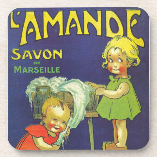 French soap label advertisement Children L'amande Beverage Coasters
