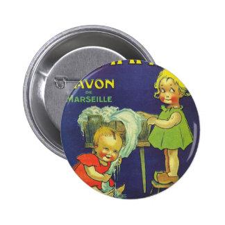 French soap label advertisement Children L'amande Pinback Button