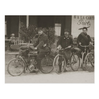 French soldiers, car, motorbike postcard