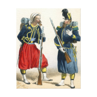 French soldiers of the 19th century stretched canvas prints
