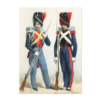 French soldiers of the 19th century stretched canvas print