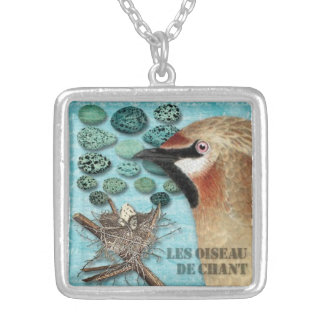 French Song Bird Square Pendant Necklace